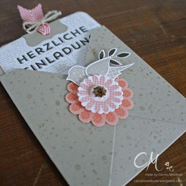 Einladungskarte mit dem Envelope Punch Board und dem Stempelset Polka-Dot Pieces von #StampinUp #CarosBastelbude #cardmaking #EnvelopePunchBoard #papercrafting carosbastelbude.de