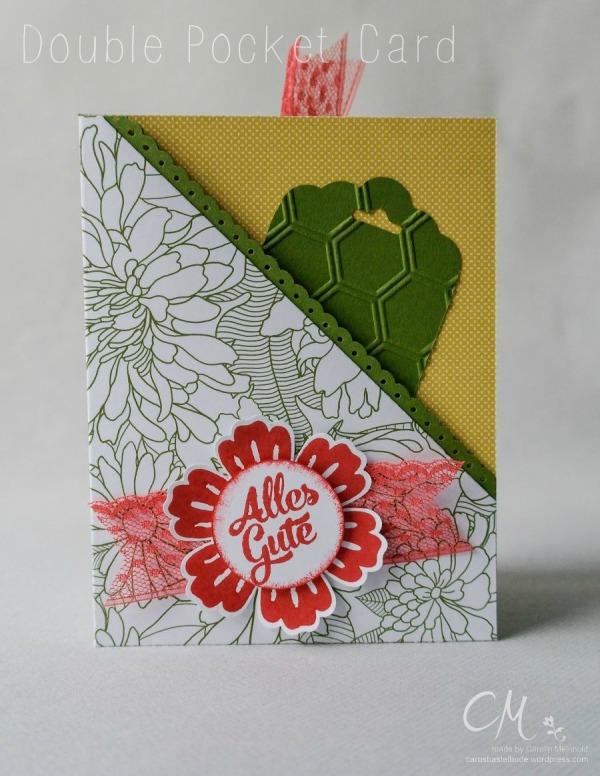 Double Pocket Card mit der diagonalen Auflage für's Falzbrett #CarosBastelbude #StampinUp #cardmaking #Geburtstag carosbastelbude.de