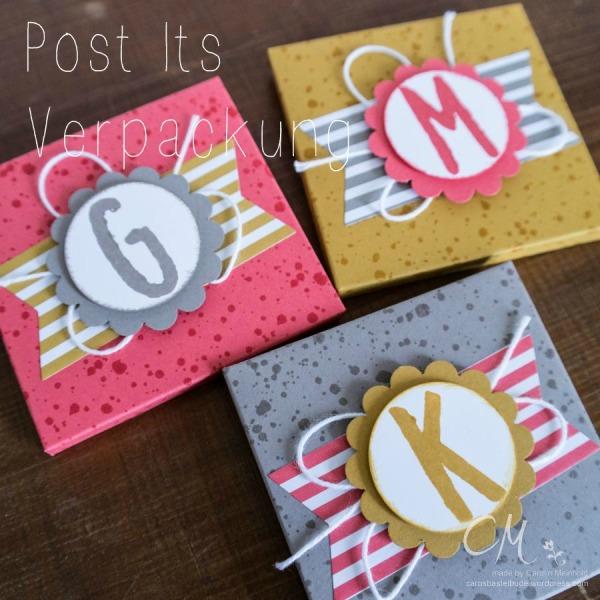 Stampingirls Smart Saturday mit den neuen Stampin' Up! InColors 2015-2017, quadratische Verpackungen für Post Its gemacht mit dem Envelope Punch Board #CarosBastelbude #StampinUp #EnvelopePunchBoard carosbastelbude.de