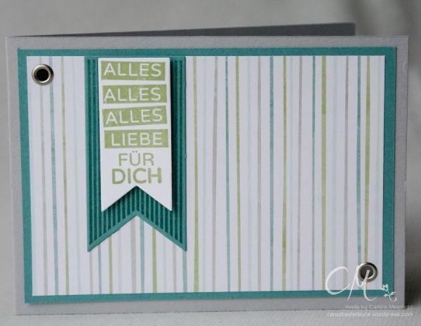 Geburtstagskarte für Männer in den Farben Schiefergrau, Lagunenblau und Farngrün mit dem Stempelset Geburtstagskracher #CarosBastelbude #stampinup carosbastelbude.de