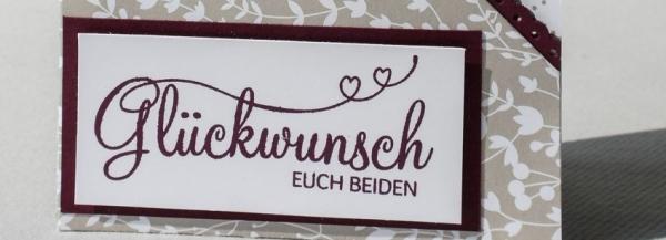 Weeding Week - Grußkarte 3, #DoublePocketCard aus dem Designerpapier #Traudich und mit dem Stempelset #PerfekterTag #CarosBastelbude #StampinUp #Hochzeit