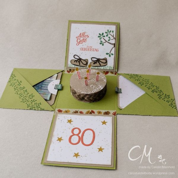 Explosionsbox zum 80. Geburtstag mit Geldfach und Glückwunschkarte #CarosBastelbude carosbastelbude.de