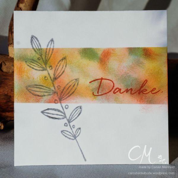 One Layer Card, Masking, Malerische Grüße, Blättertanz #CarosBastelbude #stampingirlssmartsaturday carosbastelbude.de