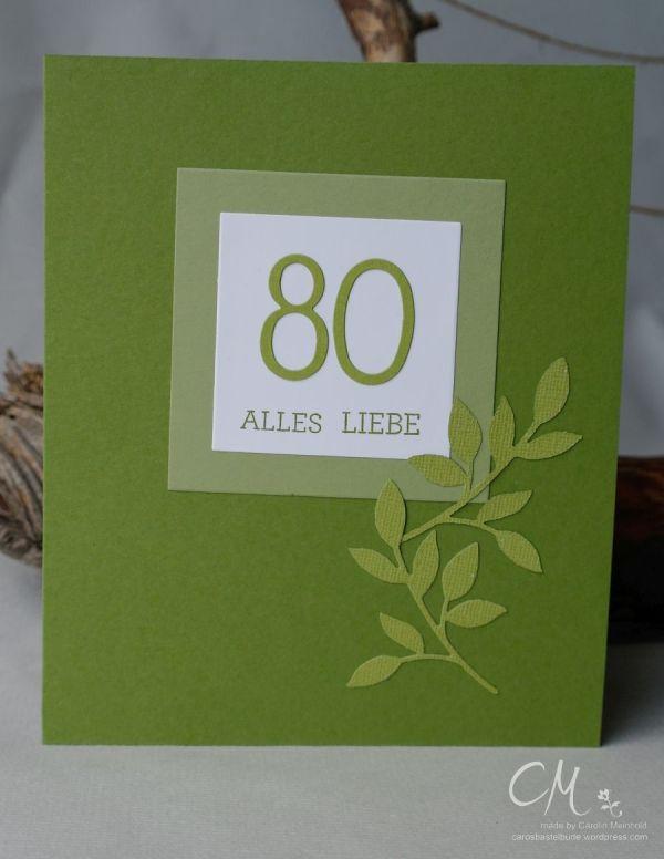 Grußkarte zum 80. Geburtstag in A5 Format, runder Geburstag #CarosBastelbude #stampinup carosbastelbude.de