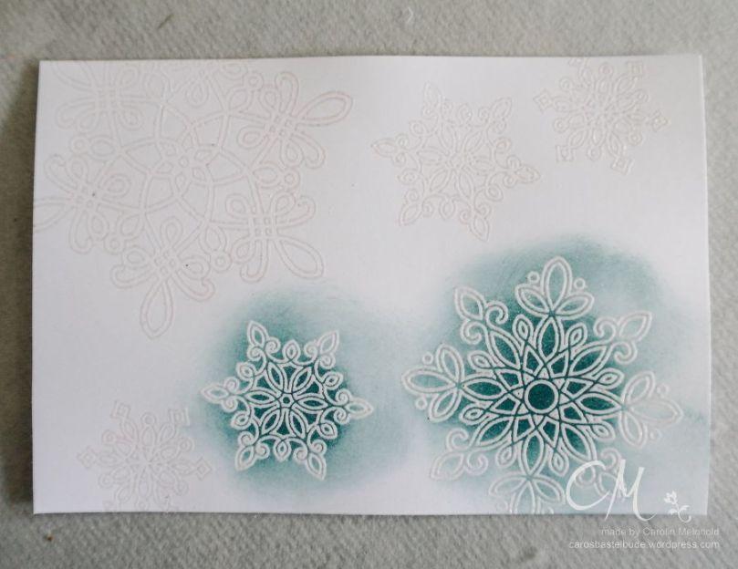 Weihnachtskarte mit Embossing Resist Technik, Flockenzauber, Stampin' Up! #CarosBastelbude carosbastelbude.de