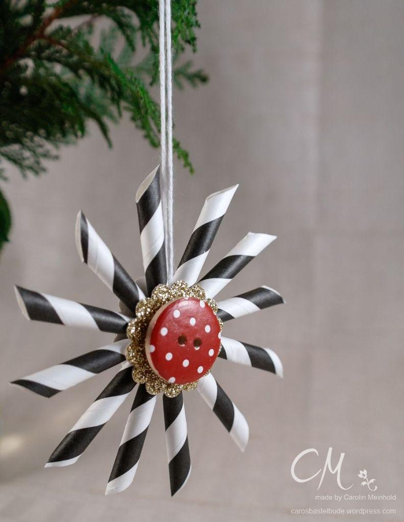 Weihnachts{wahn}Sinn - Adventskalender Blog Hop, Türchen Nr. 1, Dekorationsidee, Weihnachtssterne aus Papierstrohalmen