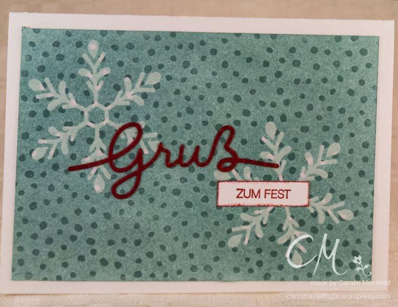 Stampingirls Smart Saturday: Wir läuten den Winter ein. Karte mit Schneeflocken aus dem Set Winterliche Weihnachtsgrüße, Embossing Resist Technik, Stampin' Up! #CarosBastelbude carosbastelbude.de