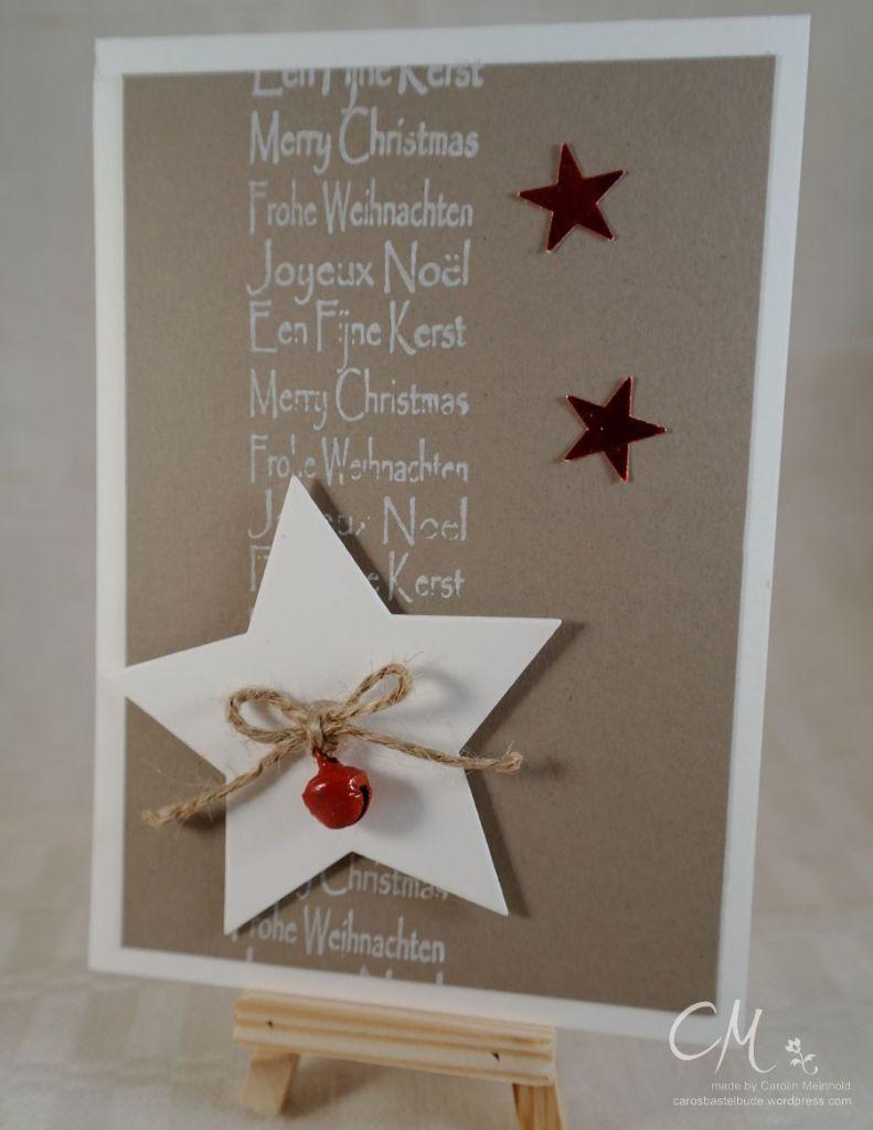 eihnachtskarte mit rotem Glöckchen, Framelits Stern-Kollektion von Stampin' Up!