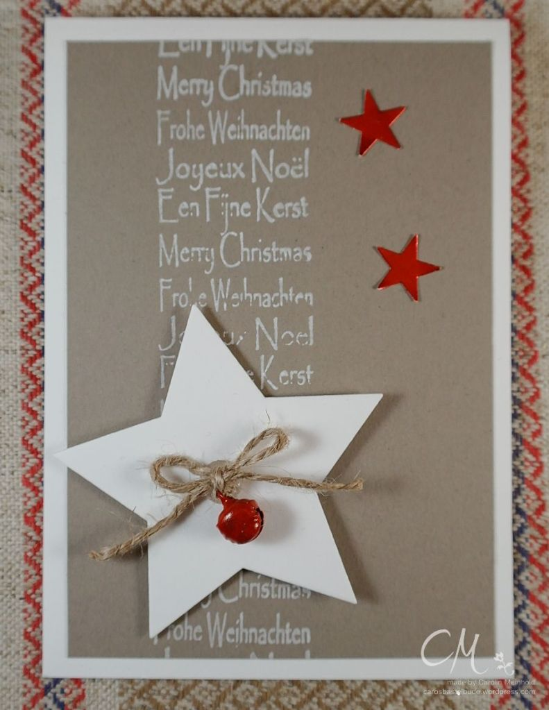 Weihnachtskarte mit rotem Glöckchen, Framelits Stern-Kollektion von Stampin' Up!