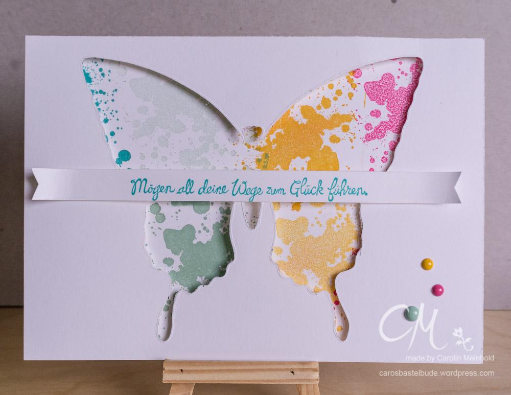 Schmetterlingsgrüße, Gorgeous Grunge im Hintergrund, Grußkarte #CarosBastelbude carosbastelbude.de