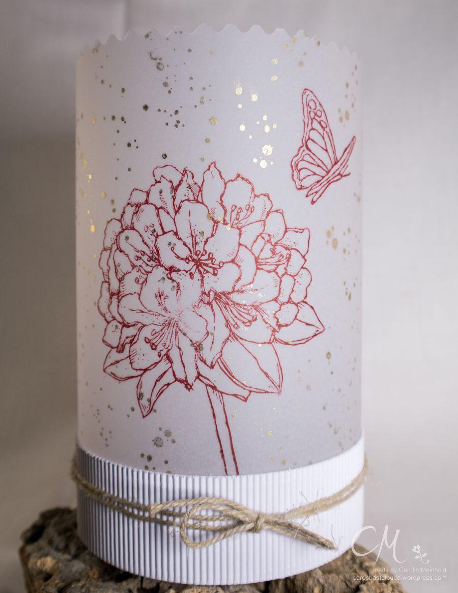 Windlicht aus Pergament von Stampin' Up! gestaltet mit dem Stempelset Gute Gedanken und Gorgeous Grunge #CarosBastelbude