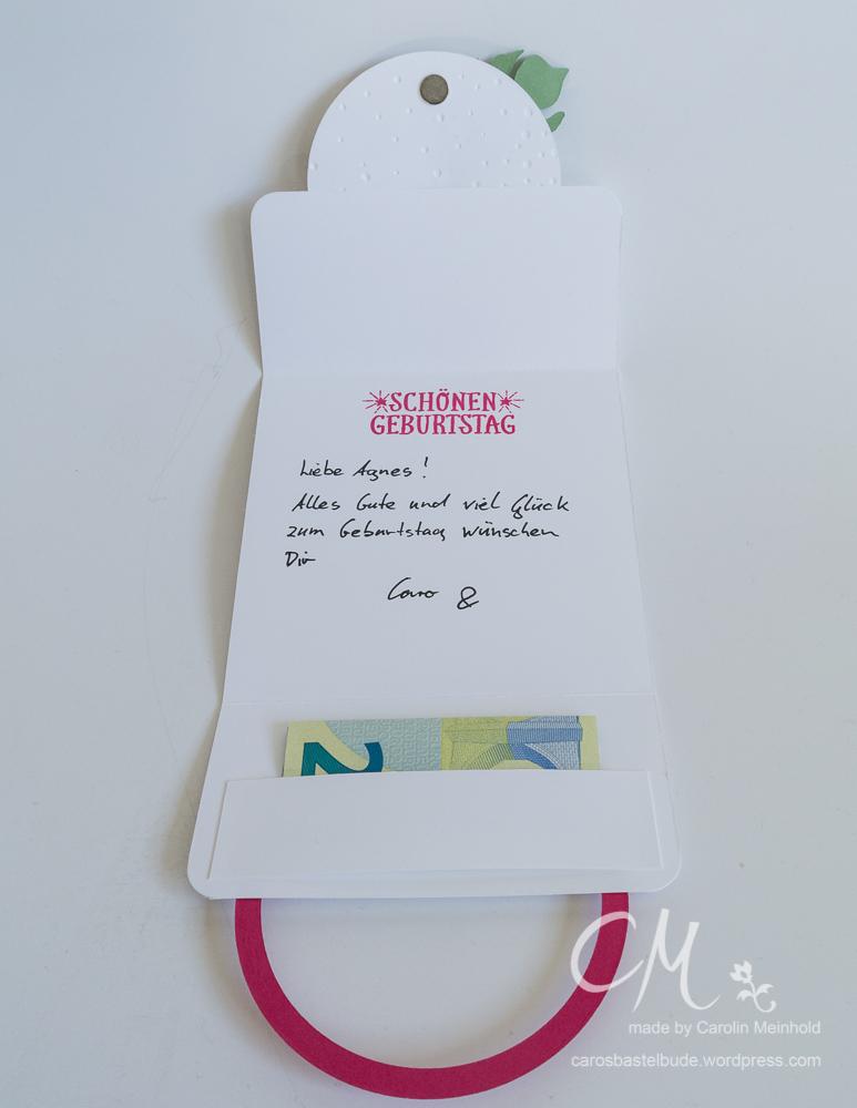 Geburtstagskarte mit besonderem Verschluss und Geldfach #CarosBastelbude carosbastelbude.de