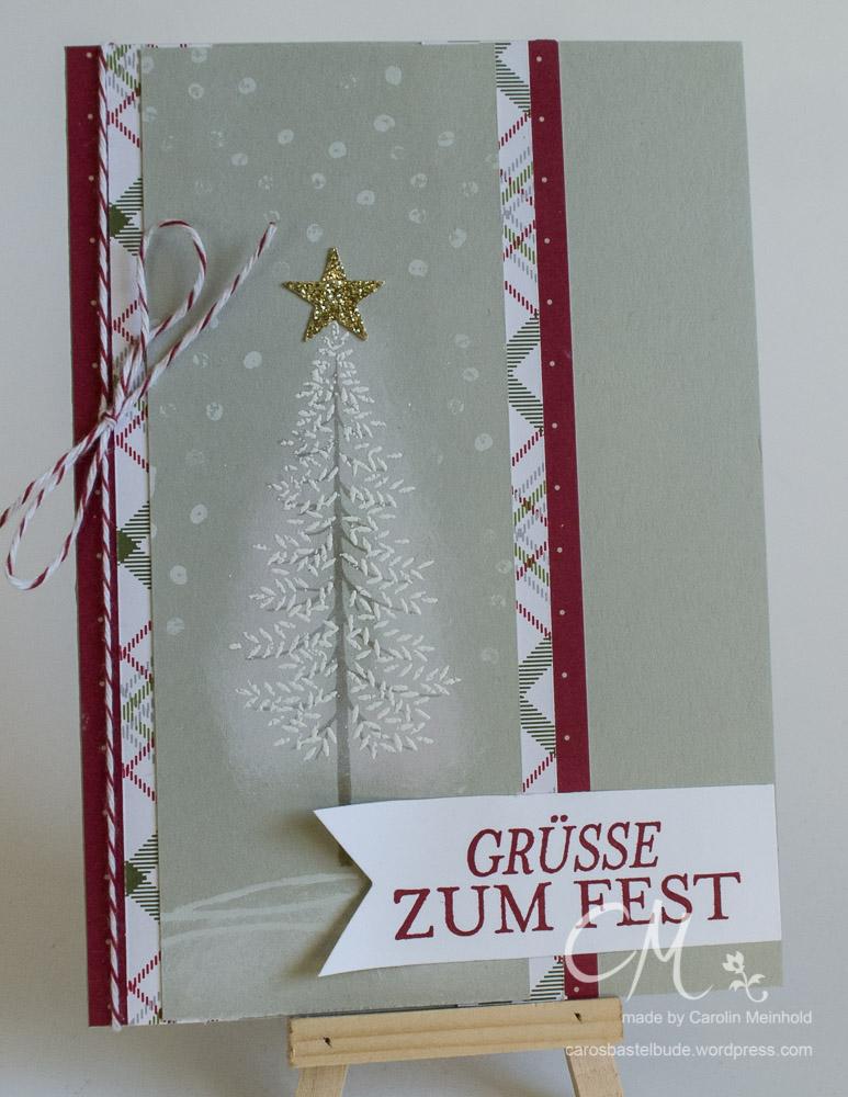 Weihnachtskarte mit dem Stempelset Wald der Worte #CarosBastelbude