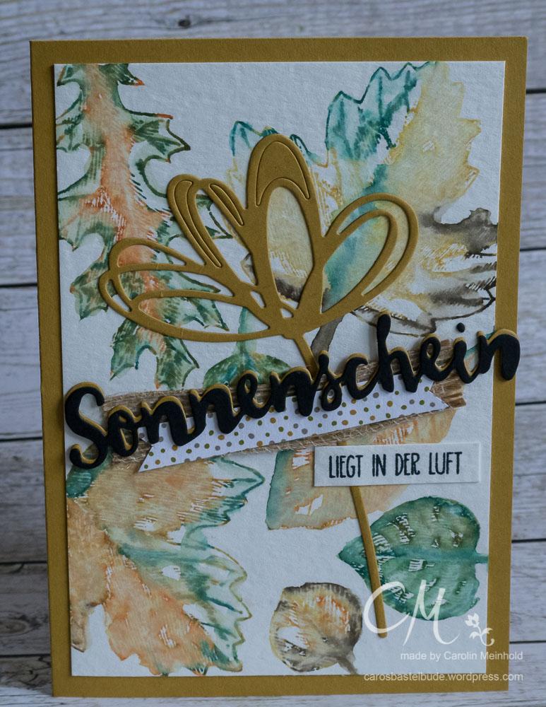 Grußkarte mit Vintage Leaves und Grüße Voller Sonnenschein #CarosBastelbude
