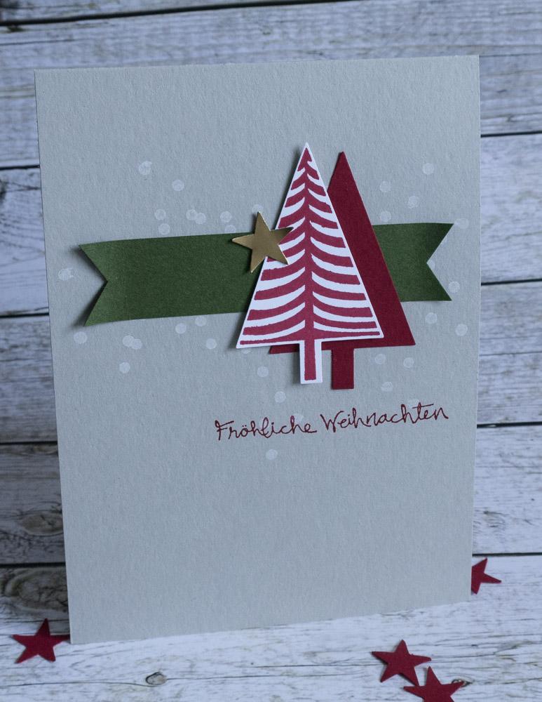 Weihnachtskarte mit Stempelset Christbaumfestival #CarosBastelbude
