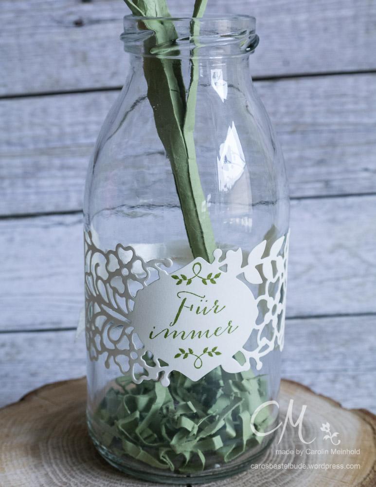 Deko-Idee mit Vinatge-Touch, Vase, Blume aus Papier, Stempelset Für Immer / So in Love Stampin' Up! #CarosBastelbude